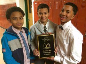 3 children with award