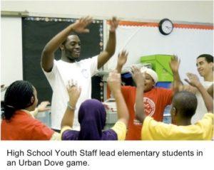 high school teacher leading kids