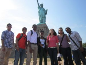 Group of students on liberty island