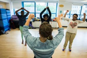Women dancing in studio